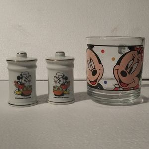 Salt and pepper and a glass cup Mickey Minnie Mous